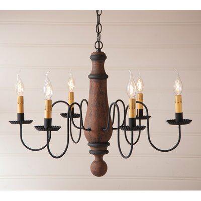 Wetherell Wood 6-Light Candle-Style Chandelier Finish: Hartford Pumpkin