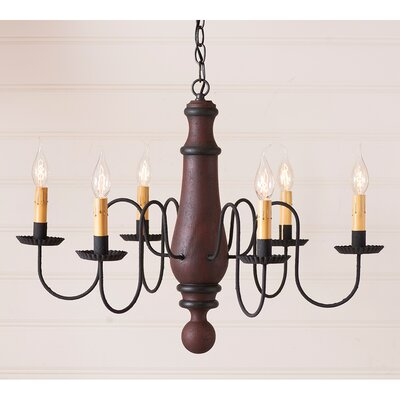 Wetherell Wood 6-Light Candle-Style Chandelier Finish: Hartford Red with Black Stripe
