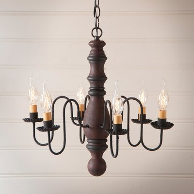 Whiteley Wood 6-Light Candle-Style Chandelier Finish: Hartford Red with Black Stripe