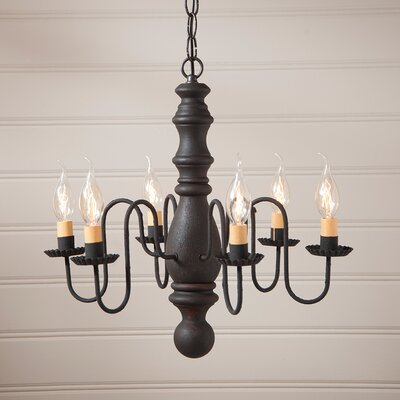 Whiteley Wood 6-Light Candle-Style Chandelier Finish: Hartford Black over Red