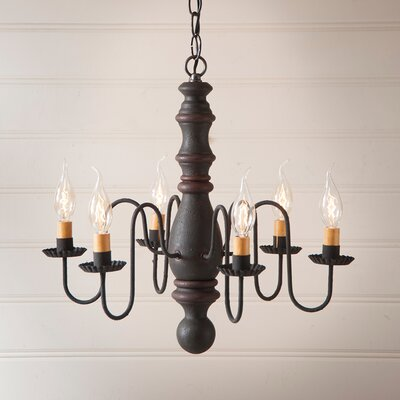 Whiteley Wood 6-Light Candle-Style Chandelier Finish: Hartford Black with Red Stripe