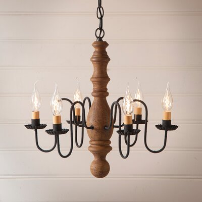 Whiteley Wood 6-Light Candle-Style Chandelier Finish: Hartford Mustard over Red