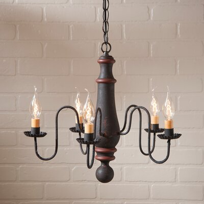 Wetherell Wood 5-Light Candle-Style Chandelier Finish: Hartford Black with Red Stripe