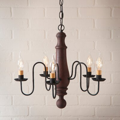 Wetherell Wood 5-Light Candle-Style Chandelier Finish: Hartford Red over Black