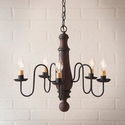 Wetherell Wood 5-Light Candle-Style Chandelier Finish: Hartford Red with Black Stripe