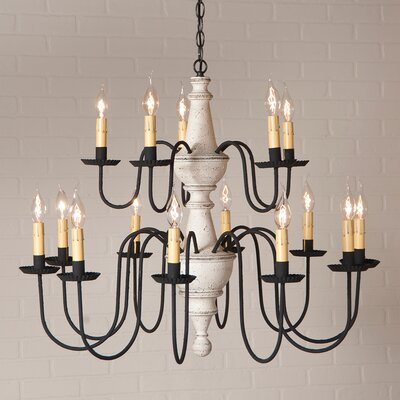 Whitmire Wood 15-Light Candle-Style Chandelier Finish: Vintage White