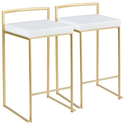 Gary Contemporary Glam Stackable 27 Bar Stool Color: Gold, Upholstery: White Mohair