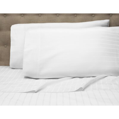 Blane Stripe 600 Thread Count Sheet Set Color: White, Size: Queen