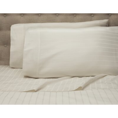 Blane Stripe 600 Thread Count Sheet Set Color: Winter White, Size: Queen