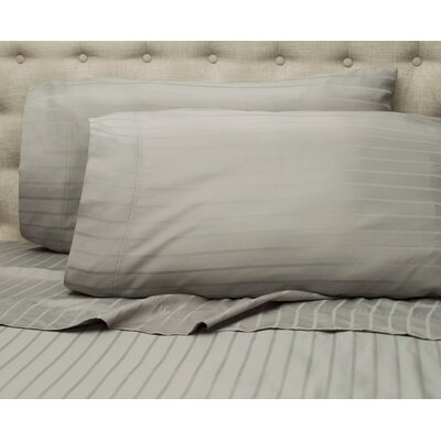 Blane Stripe 600 Thread Count Sheet Set Color: Light Gray, Size: King