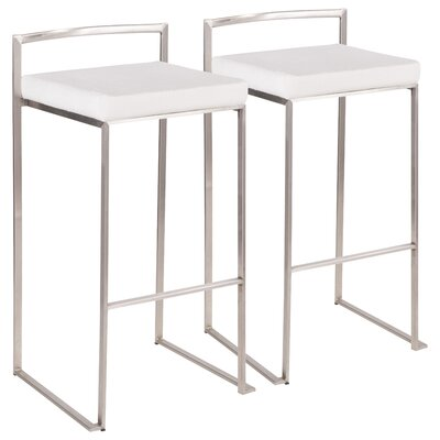 Gary Contemporary Glam Stackable 30.75 Bar Stool Color: Stainless Steel, Upholstery: White Mohair