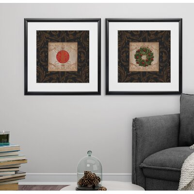 'Classic Ornament I' 2 Piece Framed Graphic Art Print Set F0816BCDEC354D7884374A43C56D4389