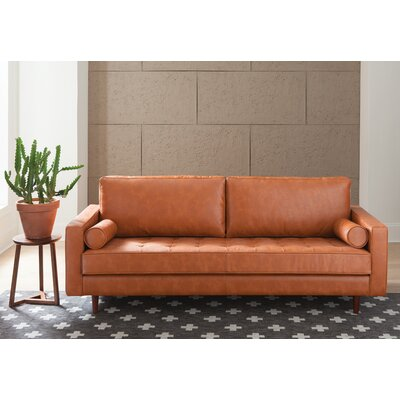 Laguna Hills Genuine Leather Sofa Upholstery: Caramel