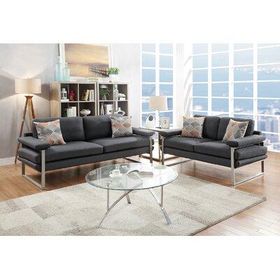 Stroh 2 Piece Living Room Set Upholstery: Ash Black