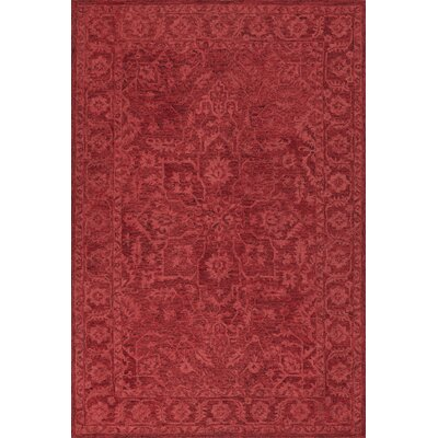 Chatmon Hand-Tufted Wool Red Area Rug Rug Size: Rectangle 5 x 76