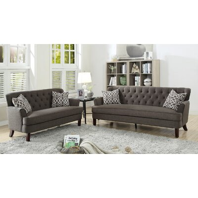 Jacinto 2 Piece Living Room Set Upholstery: Ash Black