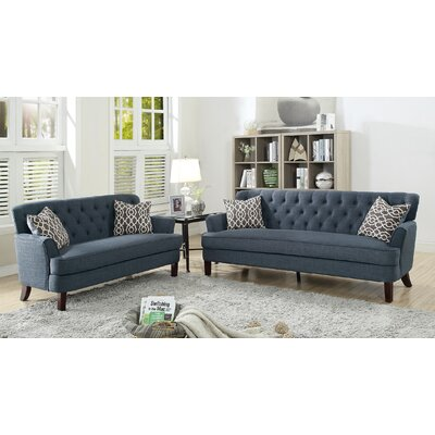 Jacinto 2 Piece Living Room Set Upholstery: Dark Blue