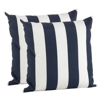 Feuerstein Striped Outdoor Pillow Cover Color: Navy Blue