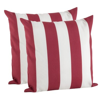Feuerstein Striped Outdoor Pillow Cover Color: Red