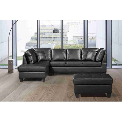 Gympie Sectional with Ottoman Upholstery: Black