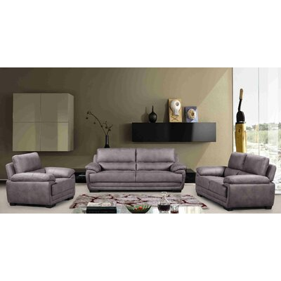 Rollins 3 Piece Living Room Set Upholstery: Gray