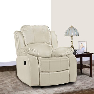 Schrager Oversize Leather Manual Recliner Upholstery : Beige