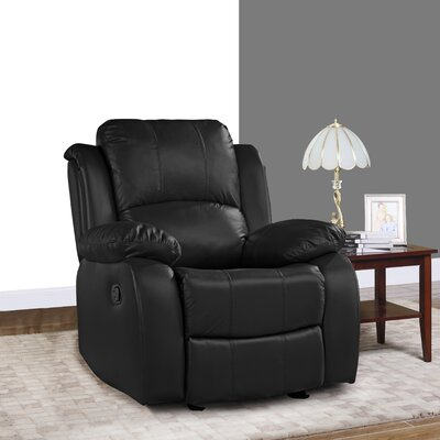 Schrager Oversize Leather Manual Recliner Upholstery : Black