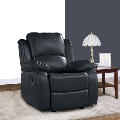 Schrager Oversize Leather Manual Recliner Upholstery : Dark Blue