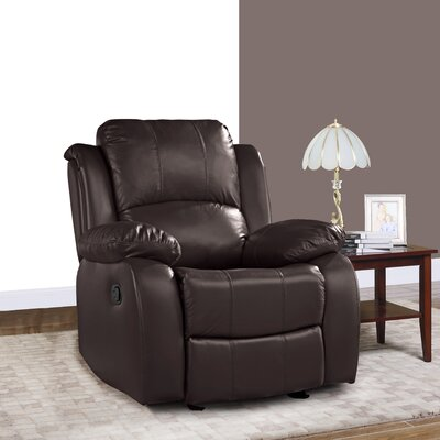 Schrager Oversize Leather Manual Recliner Upholstery : Dark Brown