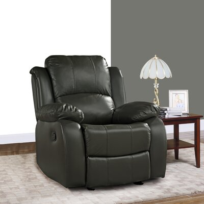 Schrager Oversize Leather Manual Recliner Upholstery : Gray