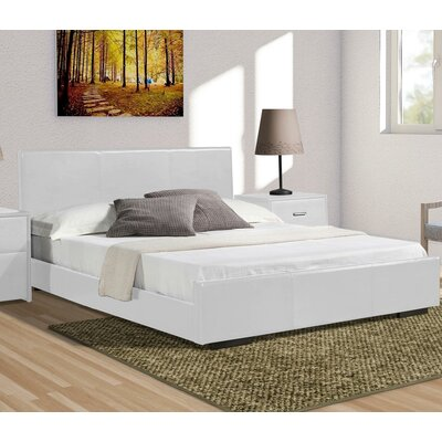 Hindes Upholstered Platform Bed Color: White, Size: Queen