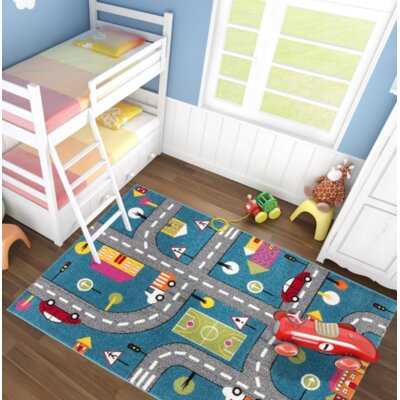 Howton Kids Play Cars Design Blue/Gray Area Rug Rug Size: Rectangle 53 x 75