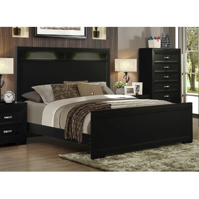 Ellington Circle Panel Bed Color: Black, Size: Queen