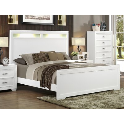 Ellington Circle Panel Bed Color: White, Size: King