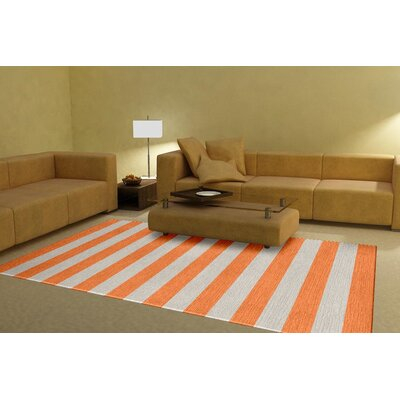 Mclennan Stripe Hand-Tufted Wool Orange Area Rug Rug Size: Rectangle 5 x 8