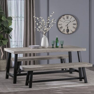 Osbourne Indoor Farmhouse 3 Piece Dining Set Color: Sandblast Light Gray/Black