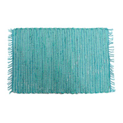Anh Hand-Woven Cotton Turquoise Area Rug
