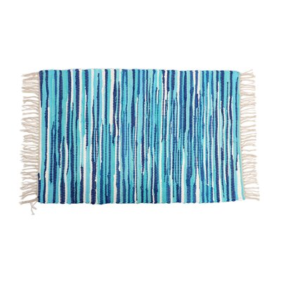 Anh Hand-Woven Cotton Blue Area Rug