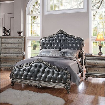 Rikard Traditional French Style Upholstered Panel Bed Color: Silver Gray, Size: California King