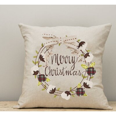 Ellicott Merry Christmas Wreath Cotton Throw Pillow