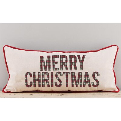 Ellicott Merry Christmas Plaid Cotton Throw Pillow