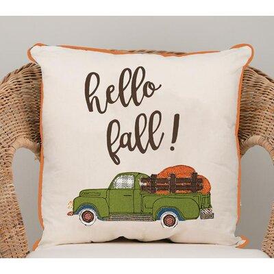 Gumbs Hello Fall Truck Cotton Throw Pillow