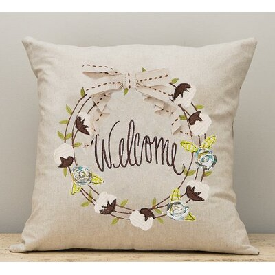 Guarino Welcome Wreath Cotton Pillow Cover
