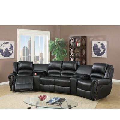 Sanora Motional Home Theater 5 Piece Sectional Set Upholstery: Black