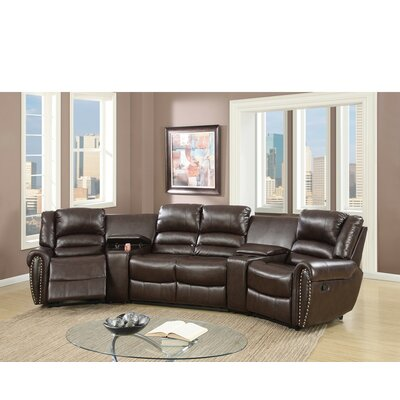 Sanora Motional Home Theater 5 Piece Sectional Set Upholstery: Brown