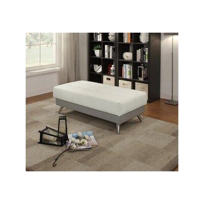 Chidester Chrome Legs Ottoman Upholstery: White/Gray