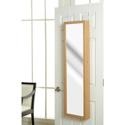Nye Over the Door Jewelry Armoire with Mirror Color: Oak