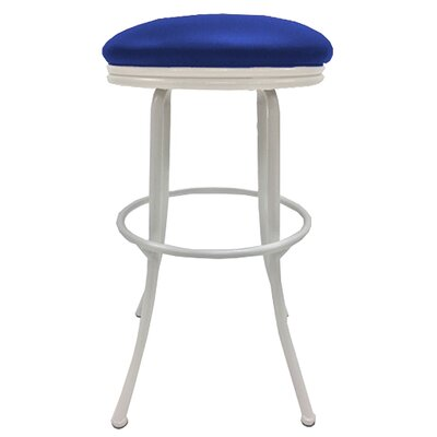 Podington 35 Swivel Bar Stool Frame Color: White, Seat Color: Blue