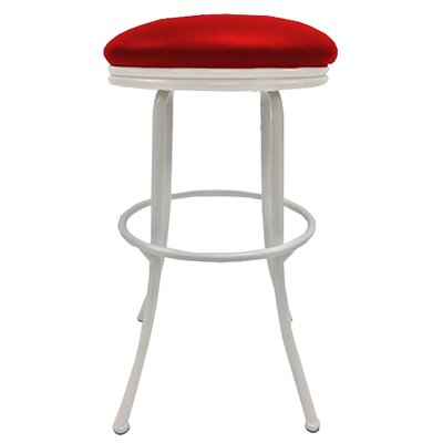 Podington 35 Swivel Bar Stool Frame Color: White, Seat Color: Fire Red