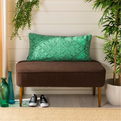 Poitra Embroidered Lumbar Pillow Color: Teal